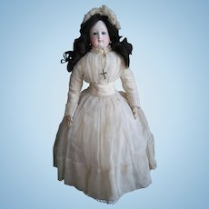 """Reserved by J. VERY RARE Pierre Victor CLEMENT 17 ½"""" (44cm) Doll with Stamped (VGR """"Solitide Garantie"""") Leather Body, year 1867-1875 (ALL ORIGINAL!!!)"""