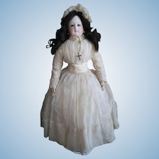 """VERY RARE Pierre Victor CLEMENT 17 ½"""" (44cm) Doll with Stamped (VGR """"Solitide Garantie"""") Leather Body, year 1867-1875 (ALL ORIGINAL!!!)"""