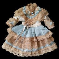 "Stunning Dress for 19"" (48-50 cm) Antique Doll with River Pearls and a Pin"
