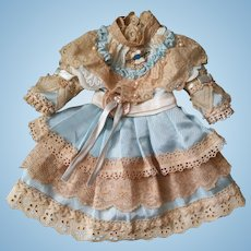 """Stunning Dress for 19"""" (48-50 cm) Antique Doll with River Pearls and a Pin"""