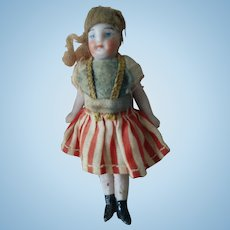 Tiny German All-Bisque Doll in Original Costume