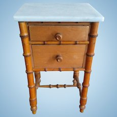 """Antique French Faux Bamboo Bedside Cabinet with Marble Top (12"""")"""