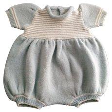 Vintage Light-Blue Knitted Toddler Doll Jumpsuit