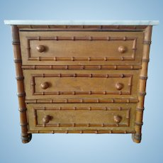 Antique French Faux Bamboo Chest of Drawers (19th Century)