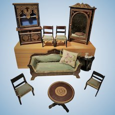 Collection of German Wooden Dollhouse Furnishings by Wagner (circa 1870-75)