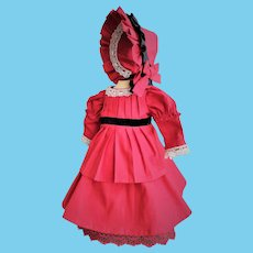 One of a Kind Red Cotton Doll Dress with Adjusting Half-Bonnet