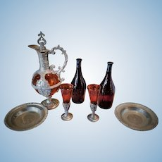 Antique Miniature Set of Ornate Glass and Metal Jug, 2 Glasses, 2 Metal Plates and 2 Wine Bottles