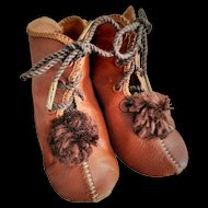 Size 9 Marked Allart Depose Antique Original Brown Leather Doll Shoes / Boots
