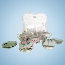 Antique Dessert-Tea-Set for (handpainted, end of 19 century, 16 pieces)