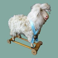 Antique Pull-Toy Lamb/Sheep with Working Hidden Neck Mechanism