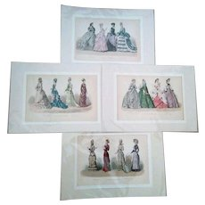 4 Original Antique History of Fashion Prints