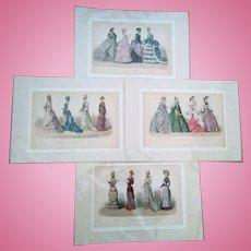 4 Original Antique History of Fashion Prints