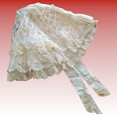 """Antique French Ivory Silk and Lace Bonnet (for a doll from 25""""-30"""")"""