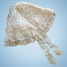 "Antique French Ivory Silk and Lace Bonnet (for a doll from 25""-30"")"