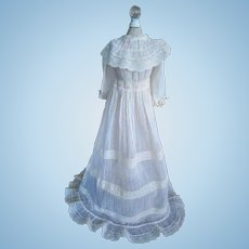 Antique French Ivory and Lace Doll Christening Dress (19th Century)
