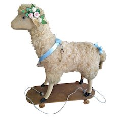 """Outstanding Antique French Mohair Toy Lamb/Sheep with """"Baa-a"""" Mechanism"""
