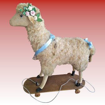 "Outstanding Antique French Mohair Toy Lamb/Sheep with ""Baa-a"" Mechanism"