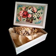 Antique Floral Design Tiara/Crown in a Box