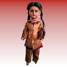 """ALL ORIGINAL!!! RARE German Bisque Doll """"Portrait of Native American"""" mold 244 by Baehr and Proeschild"""