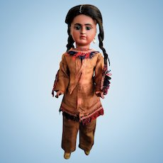 "ALL ORIGINAL!!! RARE German Bisque Doll ""Portrait of Native American"" mold 244 by Baehr and Proeschild"