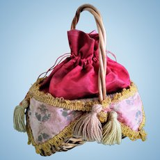 RARE Antique French Doll Purse-Basket Accessory