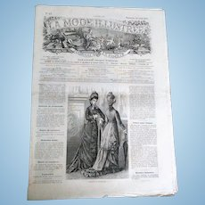 "Rare Collectable ""La Mode Illustree N17 Journal de la Famille"" (circa 1877)"
