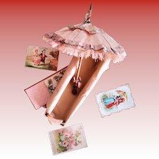 Antique Silk French Doll Parasol/Umbrella in a Box (19 century)