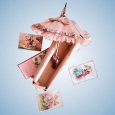 Antique Silk French Doll Parasol/Umbrella in a Box (19 century)