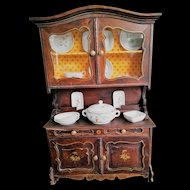 Antique Doll Buffet with Porcelain Dinner Set (circa 1900)