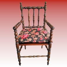 """Wonderful 14"""" Antique French Wooden Doll Chair with Cushion"""