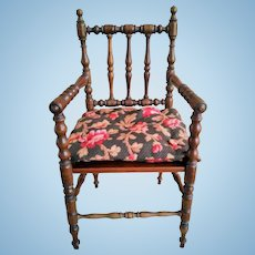 "Wonderful 14"" Antique French Wooden Doll Chair with Cushion"