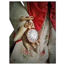Old Doll Watch Brooch with original glass