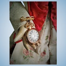 Antique Doll Watch Brooch with original glass
