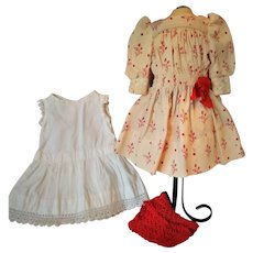 Antique Factory Original Jumeau Floral Pattern Dress with Chemise and Red Knit Stockings (3 pcs)
