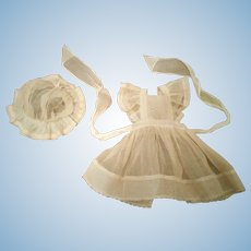 Outstanding Antique Set of Pinafore and a Bonnet