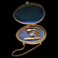 RARE French Miniature Sewing Set / Crochet Necessaire in a Golden Metal Egg (circa 1870)