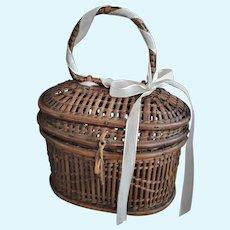 Antique Miniature Doll Basket