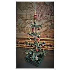 Antique Original German Christmas Tree with rare wooden fence