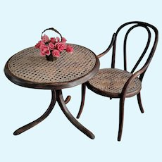 Antique Thonet Bentwood Chair and Table for a Cabinet size Doll