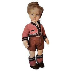 Magnificent Italian Felt Character, Series 300, by Lenci in Schoolboy Costume