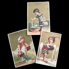 Three Antique French Advertising Cards