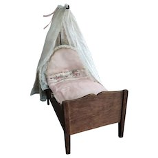 Antique French Wooden Doll Bed