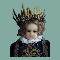 Outstanding Antique Cabinet Size Wax Doll