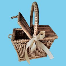Antique Miniature French Wicker Picnic/Basket for Cabinet Size Dolls