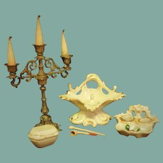Antique Miniature Desk Accessories and German Porcelain Inkwell