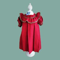 Wonderful Antique Red Doll Dress