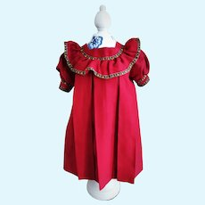 Wonderful Antique Red Doll Dress