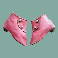 Antique French Red Leather Doll Boots signed J.J.