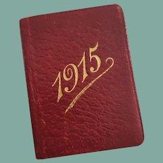 Antique Red Leather Miniature Calendar Book