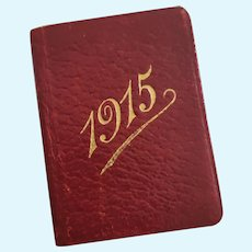Antique Red Leather Miniature Calendar Book